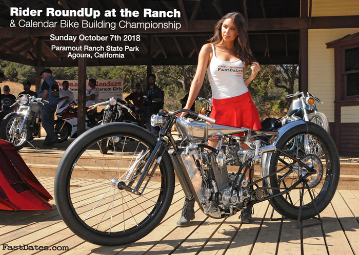 2018 LA Calednar Motorccycle Show, Calendar Bike Building Championship, Rider RoundUp at the rach, Paramount Movie ranch