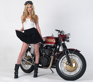 lRichard Pollock / Mule Motorcycles Triumph Streetmaster Brighton Cafe Racer with Liz Leyda