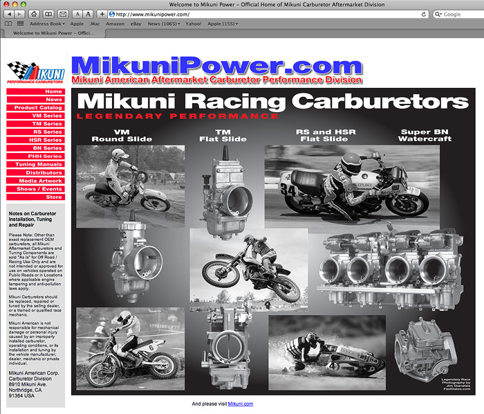 Mikuni Carburetor website mikuniPower.com