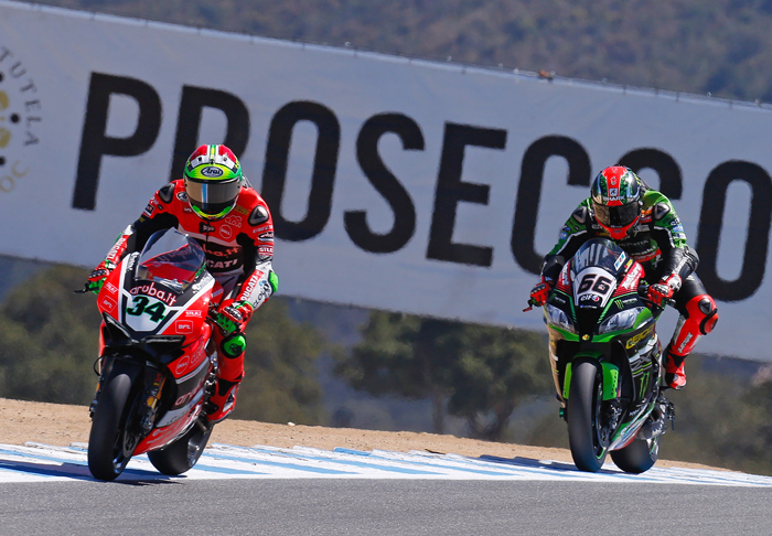 Giugliano and Tom Sykes race action Laguna Seca