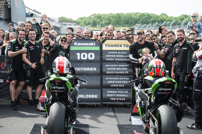 Kawasaki 100 SBK wins Donnington
