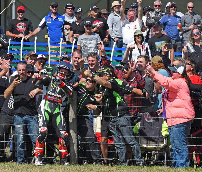 Jonthan Rae Phillip Island race winner 2017 selfie with fans