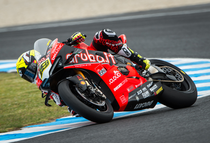 Bautista had a lonley weekend power drifting the Ducati V4RS around Phillip Island.