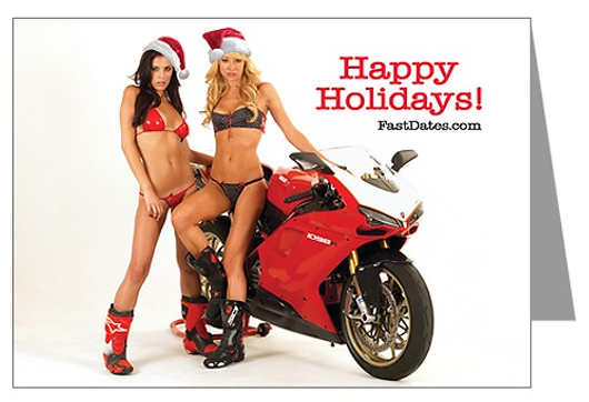 FastDates.com motorcycle calendar Christmas Greeting Card