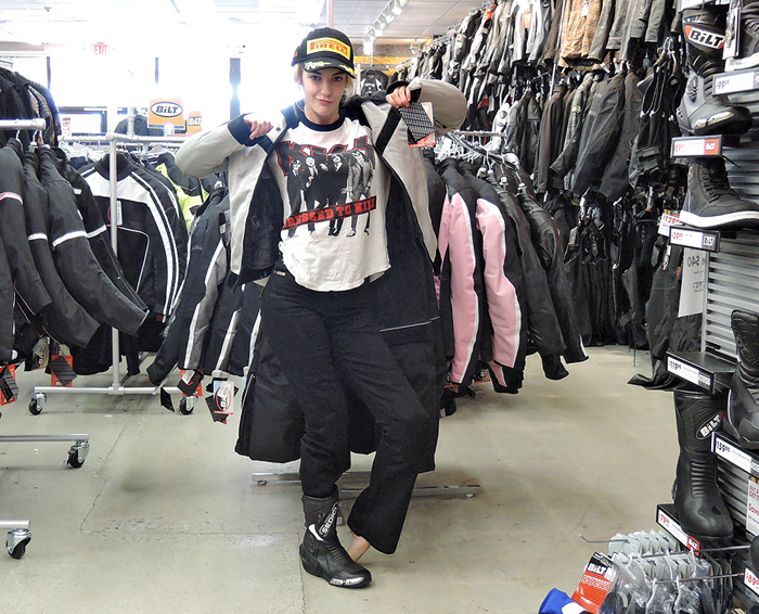 Kaustin shops for riding gear
